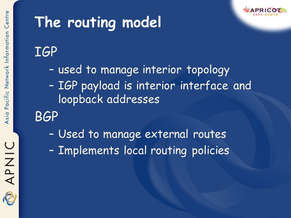 The routing model IGP –used to manage interior topology –IGP payload is interior interface and loopback addresses BGP –Used to manage external routes