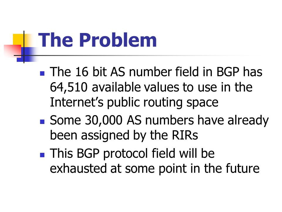 The Problem The 16 bit AS number field in BGP has 64,510 available values to use in the Internets public routing space Some 30,000 AS numbers have already been assigned by the RIRs This BGP protocol field will be exhausted at some point in the future