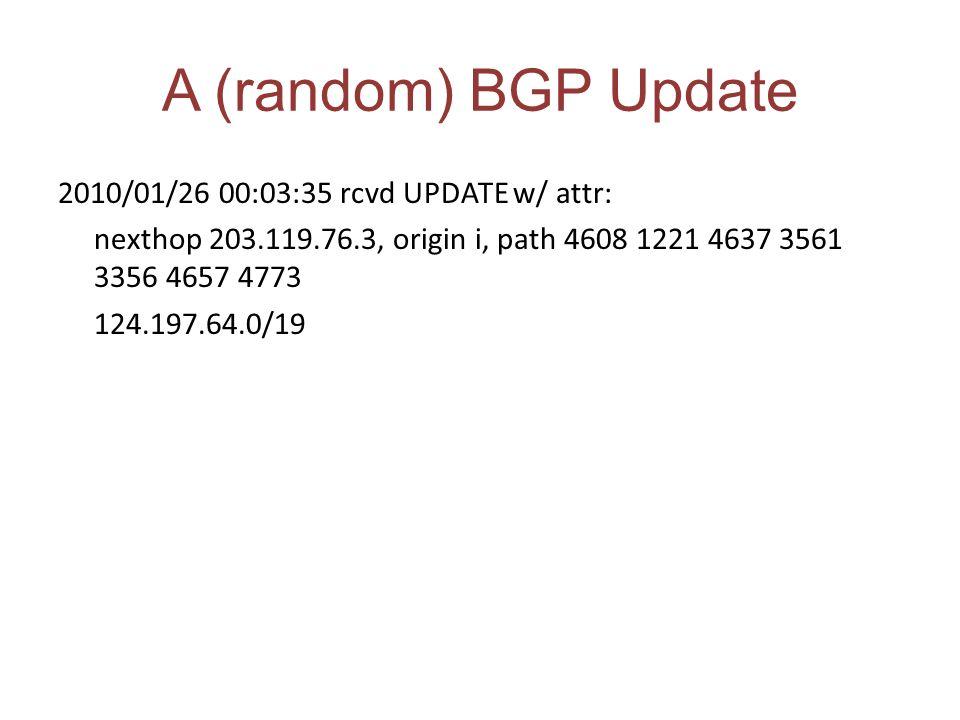 A (random) BGP Update 2010/01/26 00:03:35 rcvd UPDATE w/ attr: nexthop 203.119.76.3, origin i, path 4608 1221 4637 3561 3356 4657 4773 124.197.64.0/19