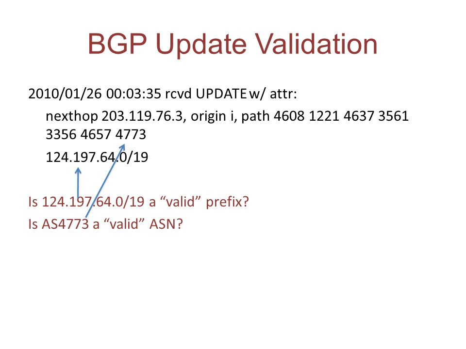 BGP Update Validation 2010/01/26 00:03:35 rcvd UPDATE w/ attr: nexthop 203.119.76.3, origin i, path 4608 1221 4637 3561 3356 4657 4773 124.197.64.0/19 Is 124.197.64.0/19 a valid prefix.