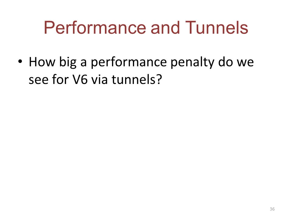 Performance and Tunnels How big a performance penalty do we see for V6 via tunnels? 36