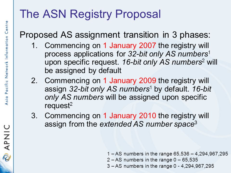 The ASN Registry Proposal Proposed AS assignment transition in 3 phases: 1.Commencing on 1 January 2007 the registry will process applications for 32-bit only AS numbers 1 upon specific request.