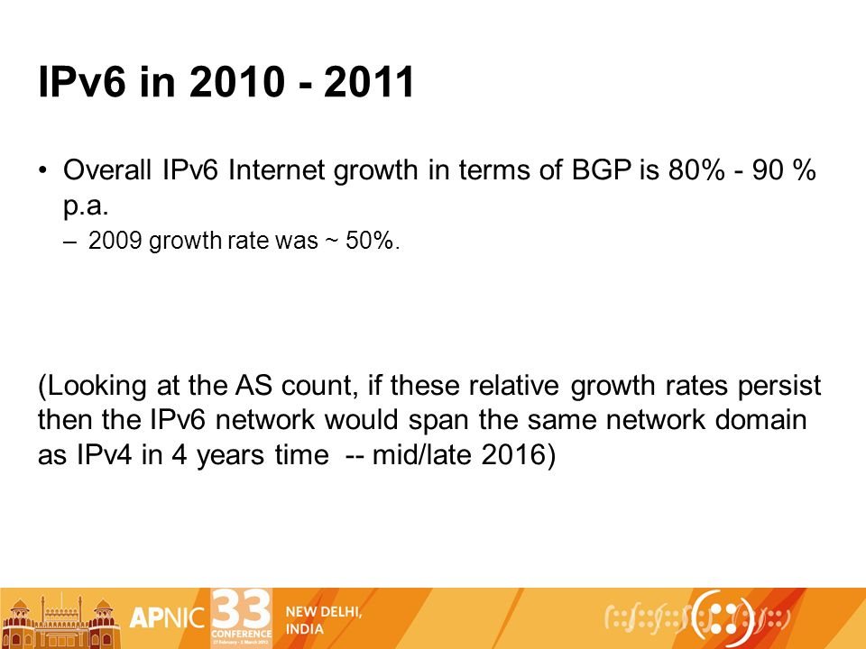 IPv6 in Overall IPv6 Internet growth in terms of BGP is 80% - 90 % p.a.