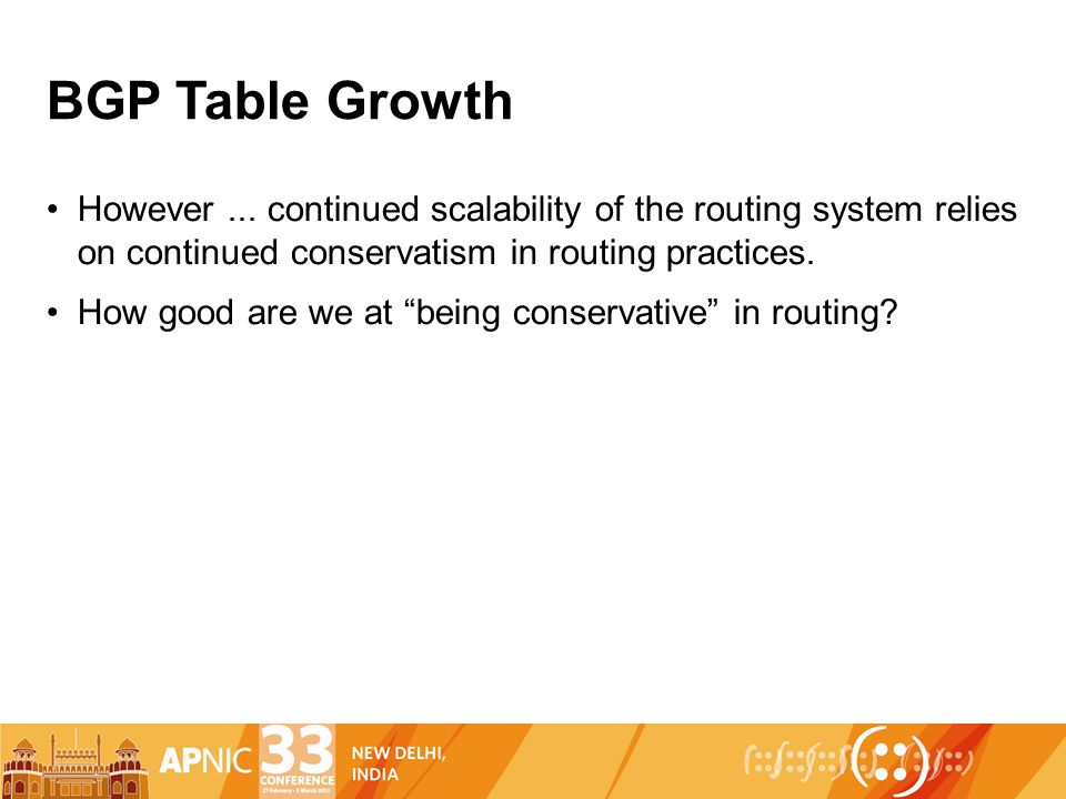 BGP Table Growth However...