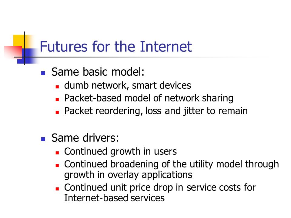 Futures for the Internet Same basic model: dumb network, smart devices Packet-based model of network sharing Packet reordering, loss and jitter to remain Same drivers: Continued growth in users Continued broadening of the utility model through growth in overlay applications Continued unit price drop in service costs for Internet-based services