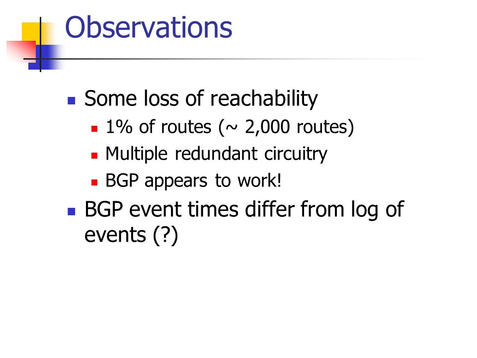 Observations Some loss of reachability 1% of routes (~ 2,000 routes) Multiple redundant circuitry BGP appears to work.