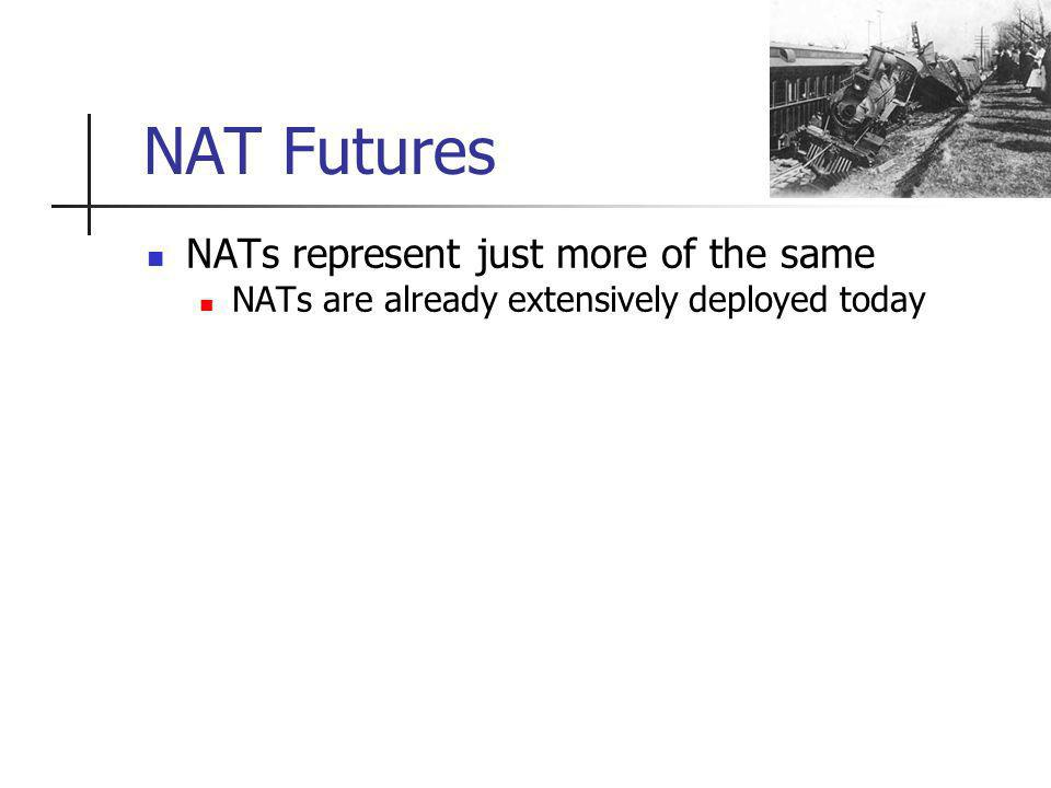 NAT Futures NATs represent just more of the same NATs are already extensively deployed today