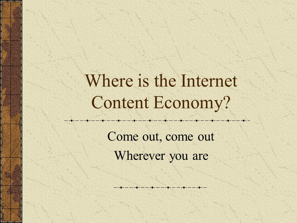 The Background The Internet Content Economy has been one of the greatest non-starters in the Internet landscape Is this a failure to find the right formula or a more fundamental characteristic of consumer patterns on the Internet?
