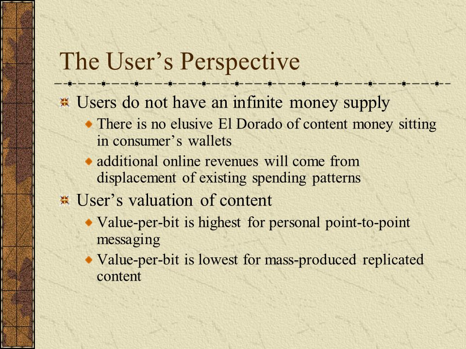 Speculation The content economy remains elusive Service models that enhance messaging capabilities will be valued by users Service models that are based on replicated content will have little value to users The value of the Internet for many retail operations may well lie in the ability to provide cost effective alternatives for retail activities and cheaper forms of delivery of goods and services same old business new delivery medium