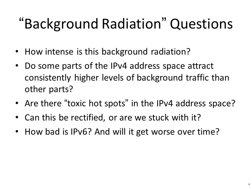 Background Radiation Questions How intense is this background radiation.