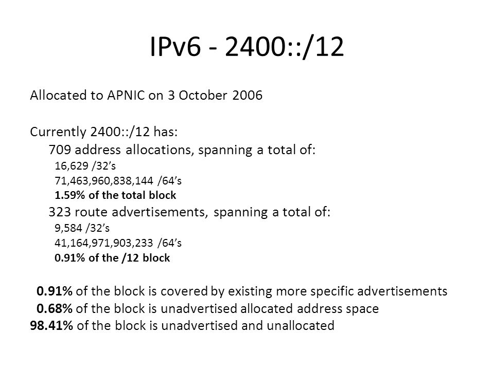 IPv ::/12 Allocated to APNIC on 3 October 2006 Currently 2400::/12 has: 709 address allocations, spanning a total of: 16,629 /32s 71,463,960,838,144 /64s 1.59% of the total block 323 route advertisements, spanning a total of: 9,584 /32s 41,164,971,903,233 /64s 0.91% of the /12 block 0.91% of the block is covered by existing more specific advertisements 0.68% of the block is unadvertised allocated address space 98.41% of the block is unadvertised and unallocated