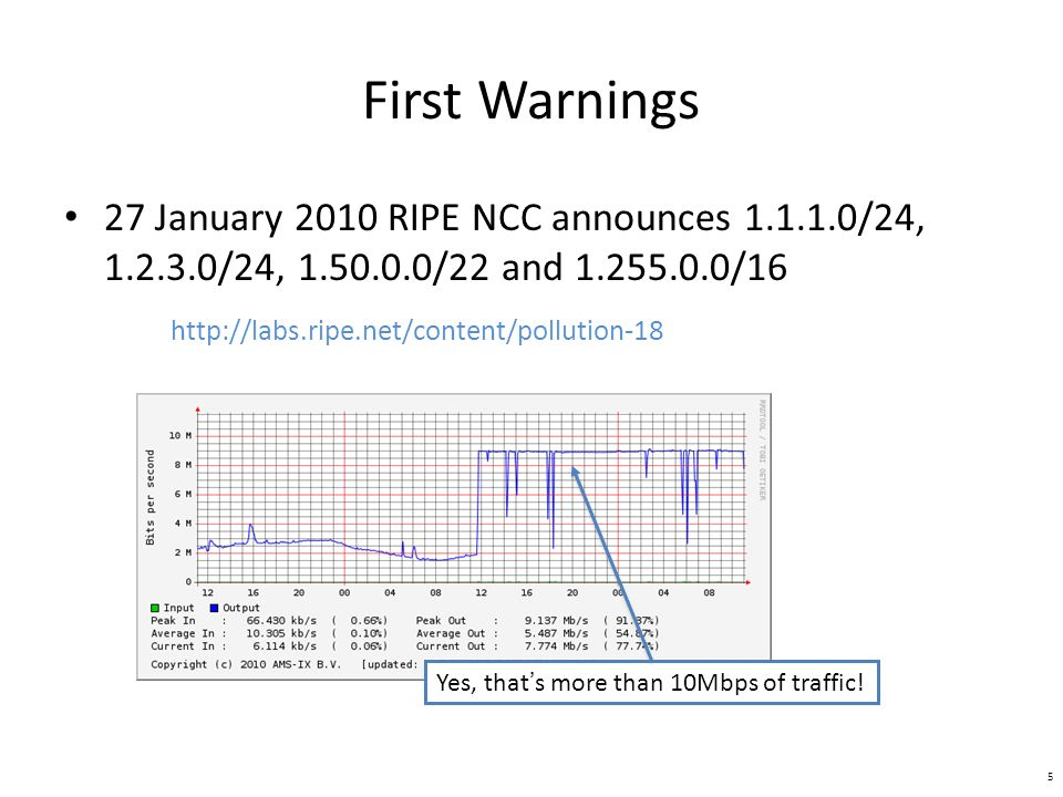First Warnings 27 January 2010 RIPE NCC announces /24, /24, /22 and /16   Yes, thats more than 10Mbps of traffic.
