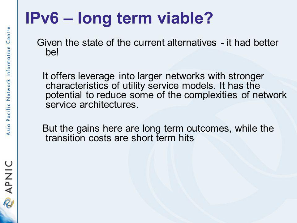IPv6 – long term viable. Given the state of the current alternatives - it had better be.