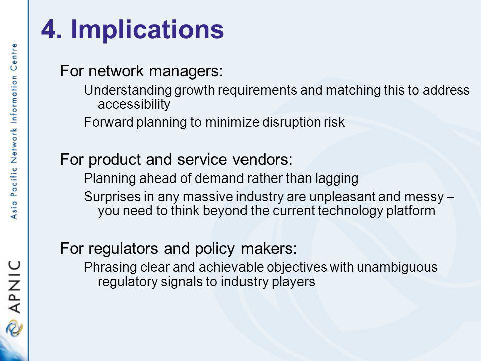 4. Implications For network managers: Understanding growth requirements and matching this to address accessibility Forward planning to minimize disrup