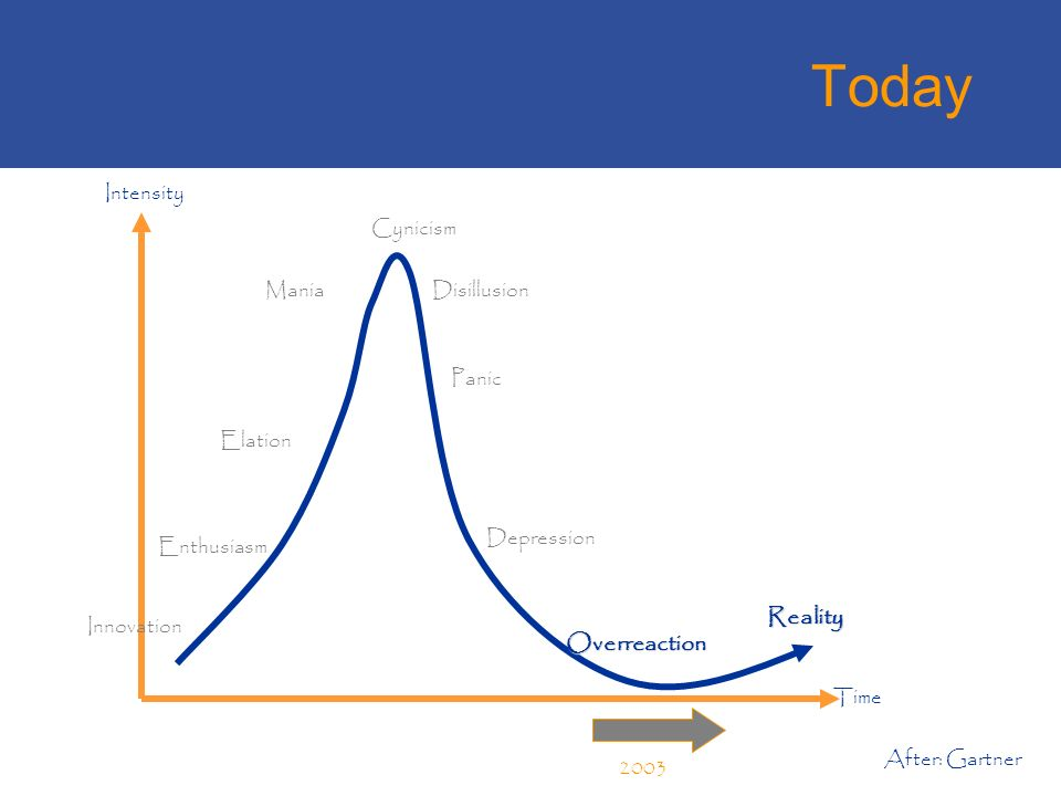 Today After: Gartner Innovation Enthusiasm Mania Elation Intensity Time Disillusion Cynicism Panic Depression Overreaction Reality 2003