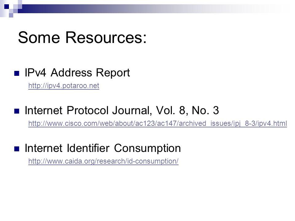 Some Resources: IPv4 Address Report http://ipv4.potaroo.net Internet Protocol Journal, Vol. 8, No. 3 http://www.cisco.com/web/about/ac123/ac147/archiv