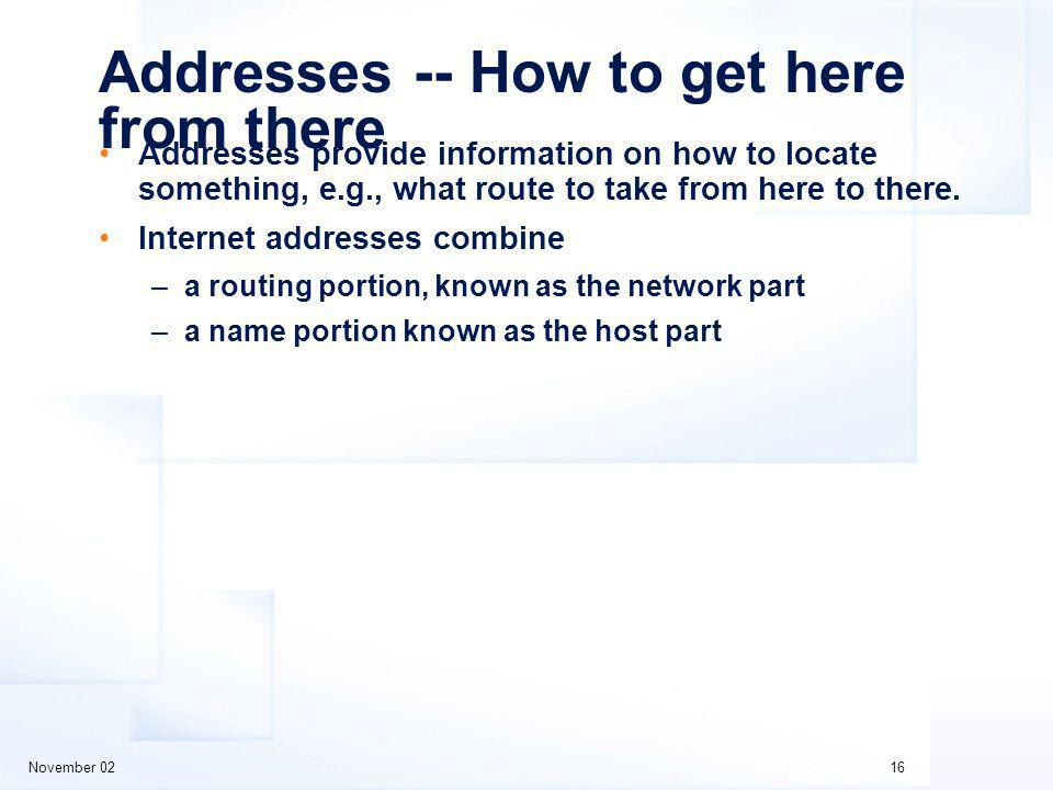 November 0216 Addresses -- How to get here from there Addresses provide information on how to locate something, e.g., what route to take from here to there.