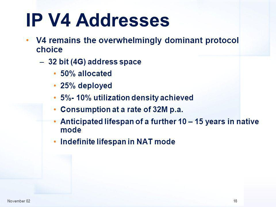 November 0218 IP V4 Addresses V4 remains the overwhelmingly dominant protocol choice –32 bit (4G) address space 50% allocated 25% deployed 5%- 10% utilization density achieved Consumption at a rate of 32M p.a.