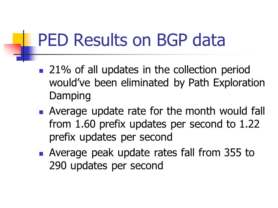 PED Results on BGP data 21% of all updates in the collection period wouldve been eliminated by Path Exploration Damping Average update rate for the month would fall from 1.60 prefix updates per second to 1.22 prefix updates per second Average peak update rates fall from 355 to 290 updates per second