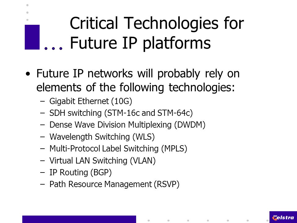 Critical Technologies for Future IP platforms Future IP networks will probably rely on elements of the following technologies: –Gigabit Ethernet (10G) –SDH switching (STM-16c and STM-64c) –Dense Wave Division Multiplexing (DWDM) –Wavelength Switching (WLS) –Multi-Protocol Label Switching (MPLS) –Virtual LAN Switching (VLAN) –IP Routing (BGP) –Path Resource Management (RSVP)