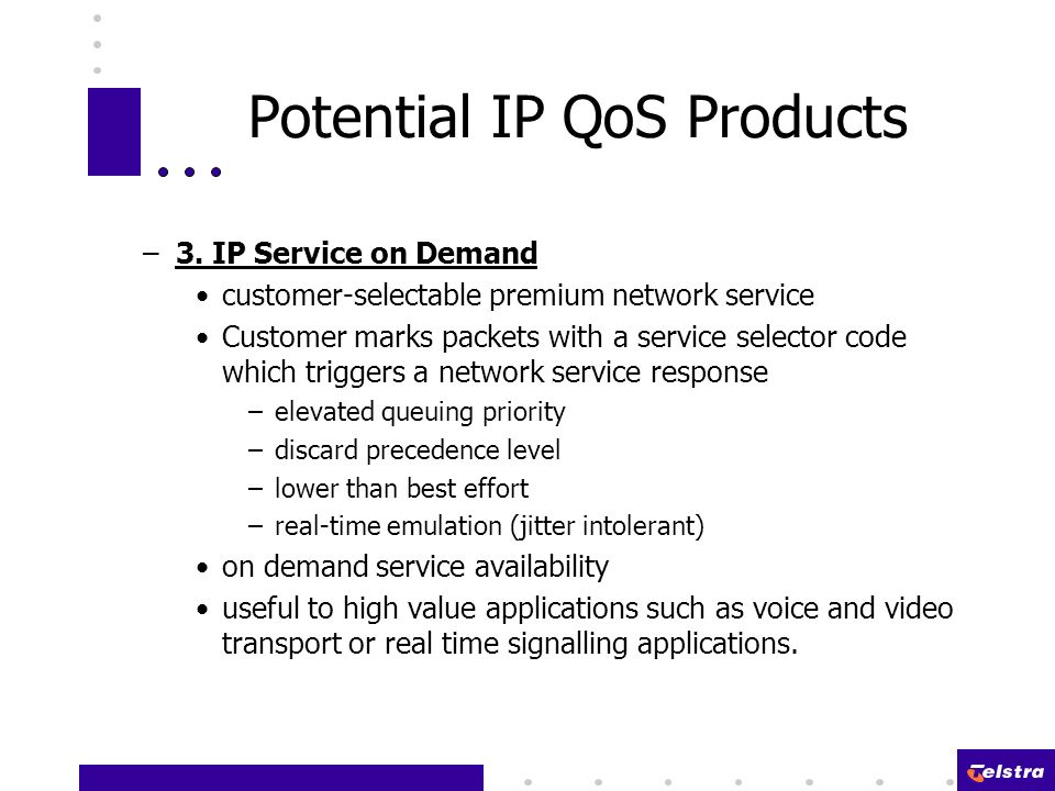 Potential IP QoS Products –3.