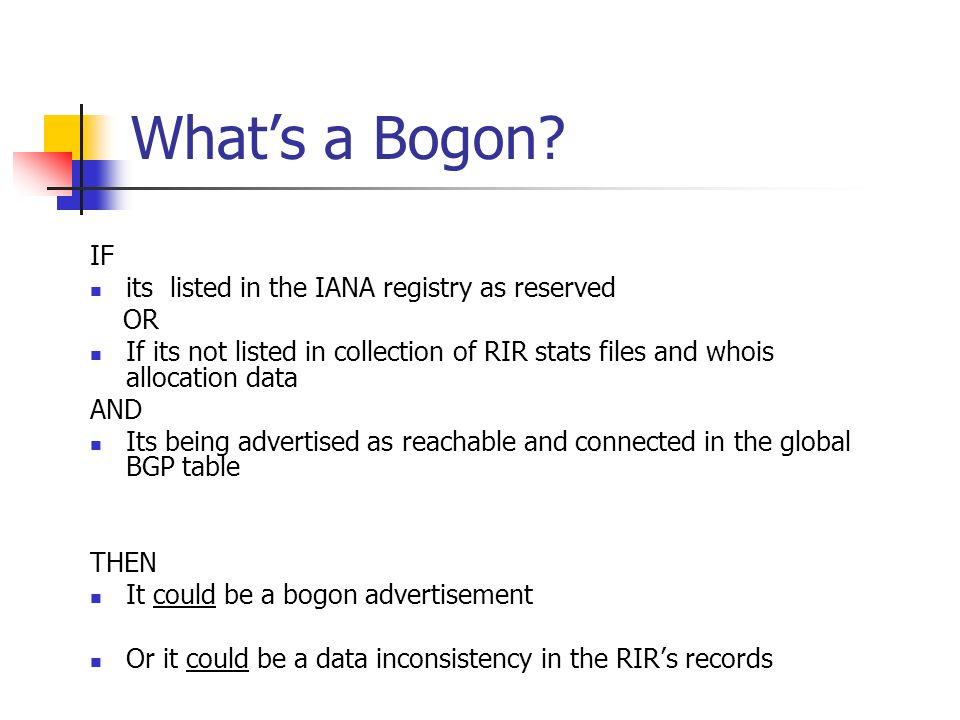 Whats a Bogon.