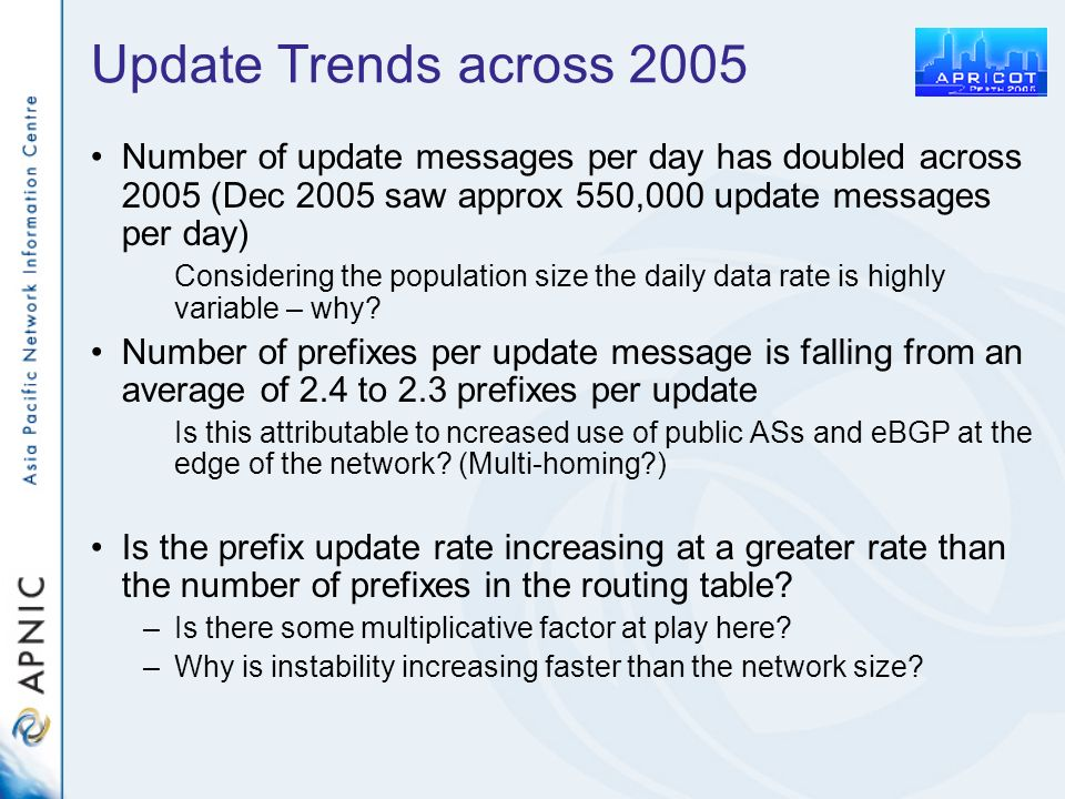 Update Trends across 2005 Number of update messages per day has doubled across 2005 (Dec 2005 saw approx 550,000 update messages per day) Considering the population size the daily data rate is highly variable – why.