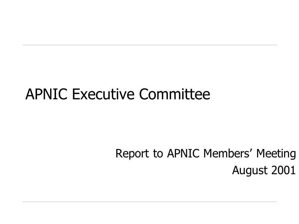 APNIC Executive Committee Report to APNIC Members Meeting August 2001