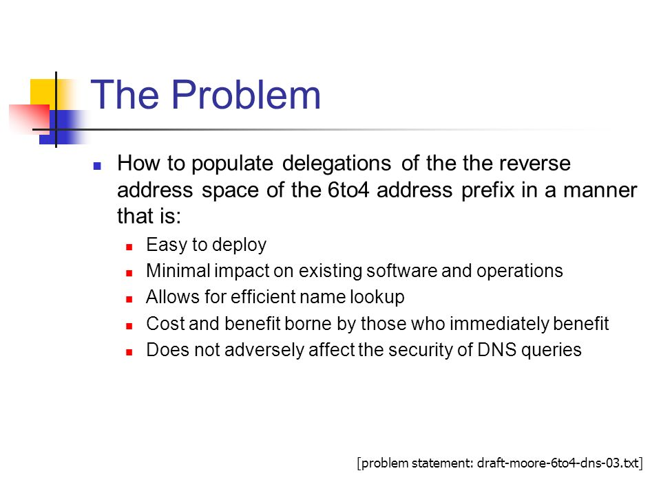 The Problem How to populate delegations of the the reverse address space of the 6to4 address prefix in a manner that is: Easy to deploy Minimal impact on existing software and operations Allows for efficient name lookup Cost and benefit borne by those who immediately benefit Does not adversely affect the security of DNS queries [problem statement: draft-moore-6to4-dns-03.txt]