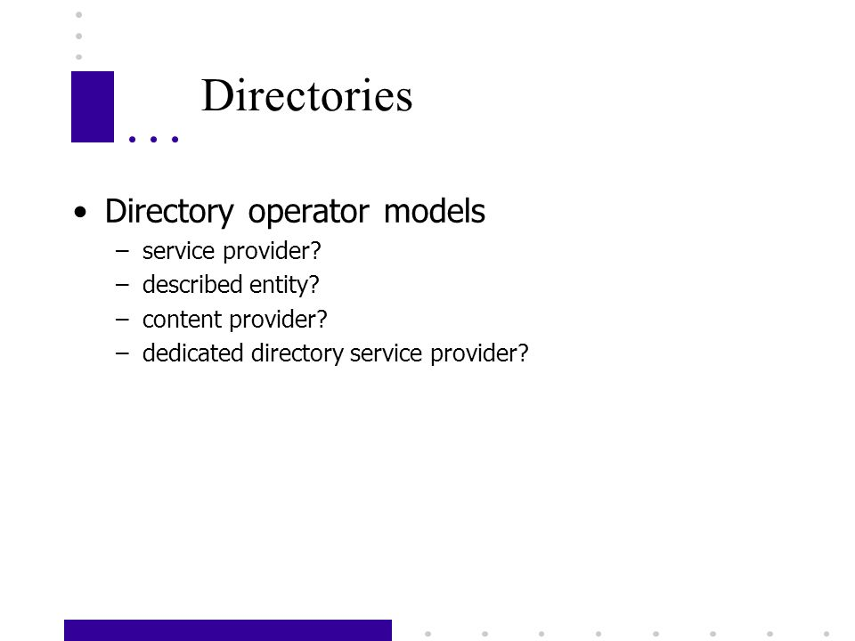 Directories Directory operator models –service provider.