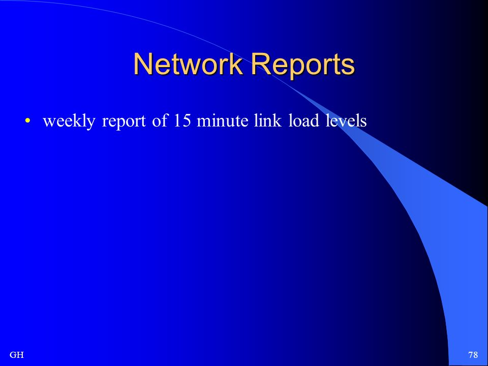 GH78 Network Reports weekly report of 15 minute link load levels
