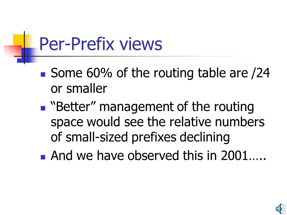 Per-Prefix views Some 60% of the routing table are /24 or smaller Better management of the routing space would see the relative numbers of small-sized prefixes declining And we have observed this in 2001…..
