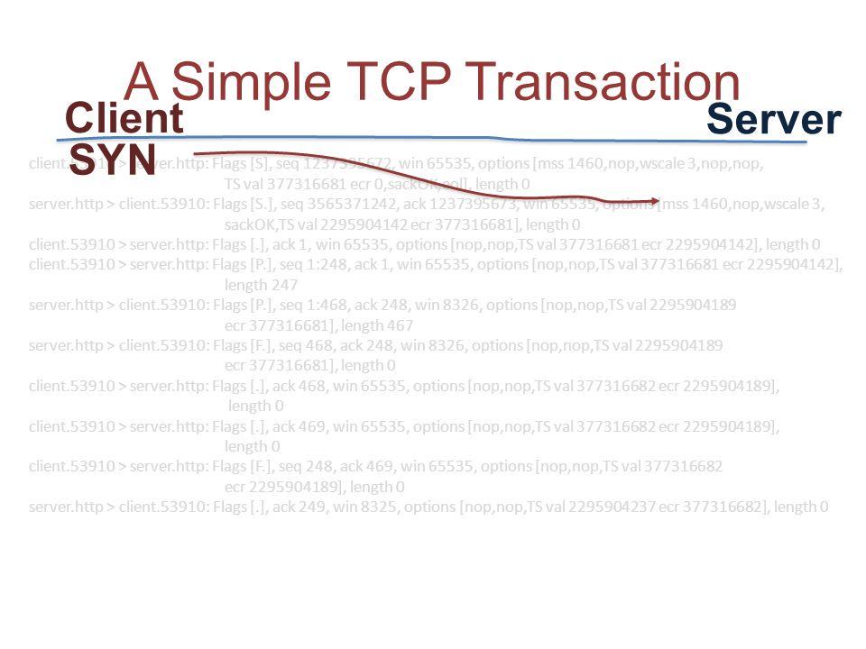 client.53910 > server.http: Flags [S], seq 1237395672, win 65535, options [mss 1460,nop,wscale 3,nop,nop, TS val 377316681 ecr 0,sackOK,eol], length 0 server.http > client.53910: Flags [S.], seq 3565371242, ack 1237395673, win 65535, options [mss 1460,nop,wscale 3, sackOK,TS val 2295904142 ecr 377316681], length 0 client.53910 > server.http: Flags [.], ack 1, win 65535, options [nop,nop,TS val 377316681 ecr 2295904142], length 0 client.53910 > server.http: Flags [P.], seq 1:248, ack 1, win 65535, options [nop,nop,TS val 377316681 ecr 2295904142], length 247 server.http > client.53910: Flags [P.], seq 1:468, ack 248, win 8326, options [nop,nop,TS val 2295904189 ecr 377316681], length 467 server.http > client.53910: Flags [F.], seq 468, ack 248, win 8326, options [nop,nop,TS val 2295904189 ecr 377316681], length 0 client.53910 > server.http: Flags [.], ack 468, win 65535, options [nop,nop,TS val 377316682 ecr 2295904189], length 0 client.53910 > server.http: Flags [.], ack 469, win 65535, options [nop,nop,TS val 377316682 ecr 2295904189], length 0 client.53910 > server.http: Flags [F.], seq 248, ack 469, win 65535, options [nop,nop,TS val 377316682 ecr 2295904189], length 0 server.http > client.53910: Flags [.], ack 249, win 8325, options [nop,nop,TS val 2295904237 ecr 377316682], length 0 A Simple TCP Transaction SYN Client Server