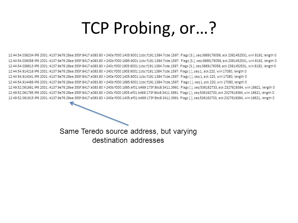 TCP Probing, or…? 12:44:54.038234 IP6 2001::4137:9e76:28ae:355f:8417:a083.80 > 240a:f000:1405:6001:1cbc:f191:1384:7cde.1597: Flags [S.], seq 388917605