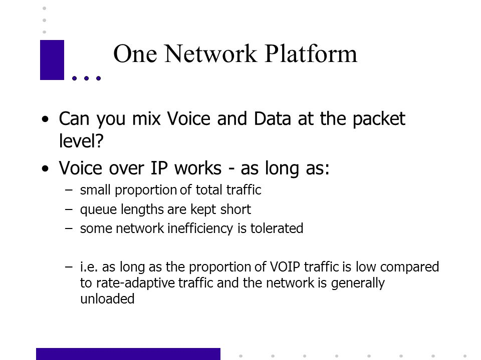 One Network Platform Can you mix Voice and Data at the packet level.
