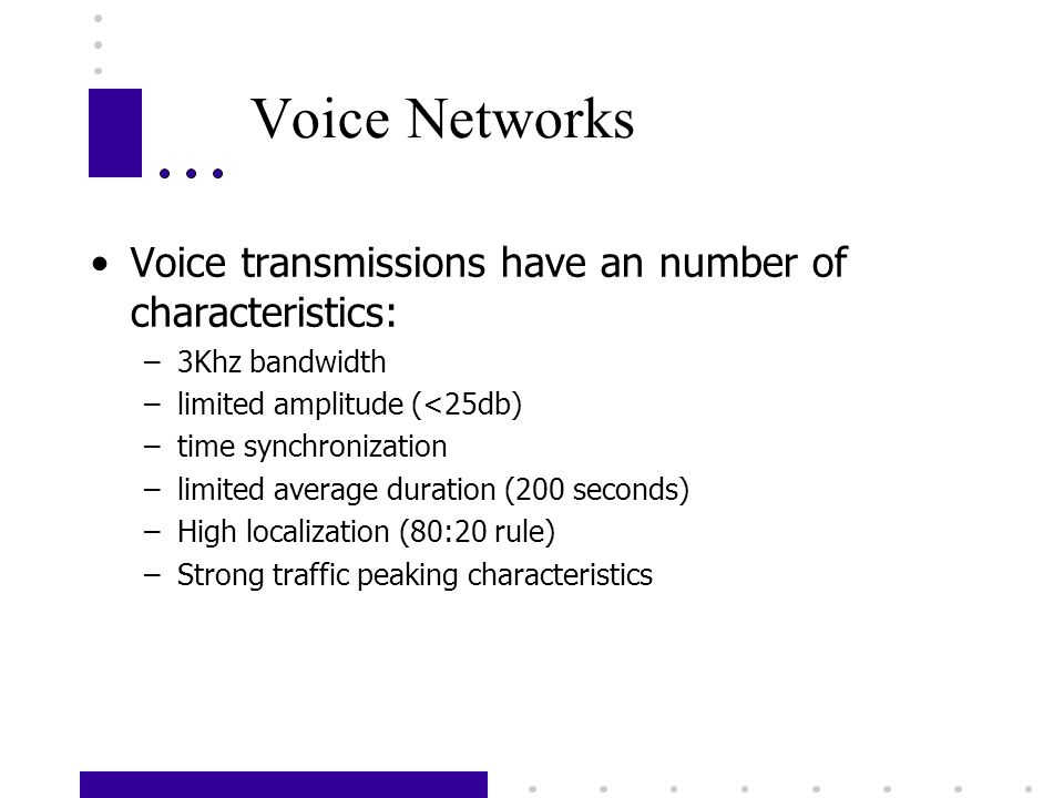 Voice Networks Voice transmissions have an number of characteristics: –3Khz bandwidth –limited amplitude (<25db) –time synchronization –limited averag