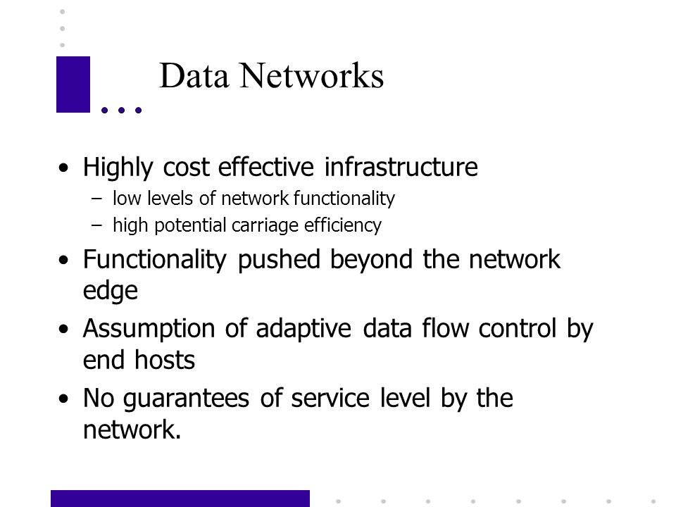 Data Networks Highly cost effective infrastructure –low levels of network functionality –high potential carriage efficiency Functionality pushed beyond the network edge Assumption of adaptive data flow control by end hosts No guarantees of service level by the network.