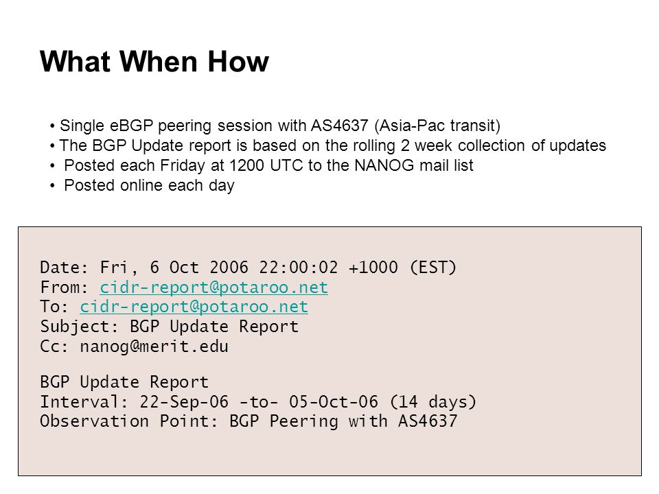 What When How Date: Fri, 6 Oct 2006 22:00:02 +1000 (EST) From: cidr-report@potaroo.netcidr-report@potaroo.net To: cidr-report@potaroo.netcidr-report@p