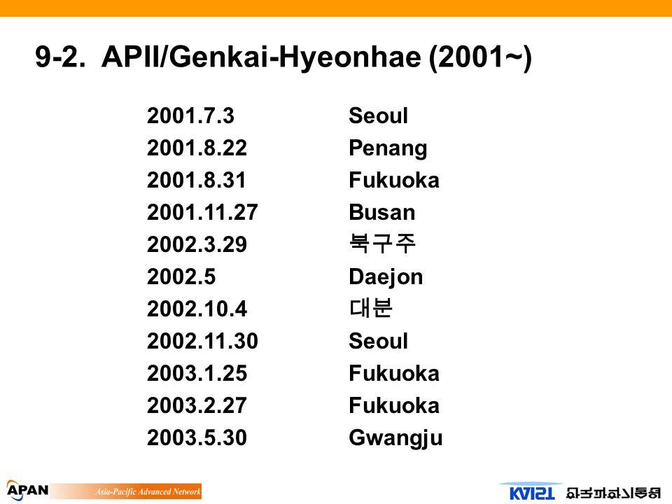 9-2. APII/Genkai-Hyeonhae (2001~) 2001.7.3Seoul 2001.8.22Penang 2001.8.31Fukuoka 2001.11.27Busan 2002.3.29 2002.5Daejon 2002.10.4 2002.11.30Seoul 2003