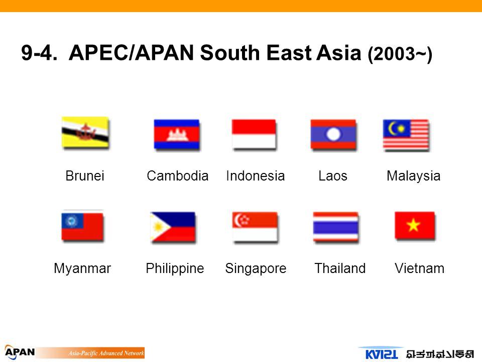 9-4. APEC/APAN South East Asia (2003~) IndonesiaCambodiaBruneiLaosMalaysia MyanmarPhilippineSingaporeThailandVietnam