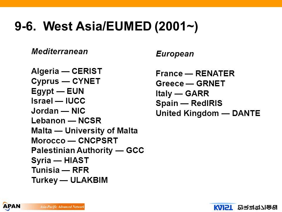 9-6. West Asia/EUMED (2001~) Mediterranean Algeria CERIST Cyprus CYNET Egypt EUN Israel IUCC Jordan NIC Lebanon NCSR Malta University of Malta Morocco