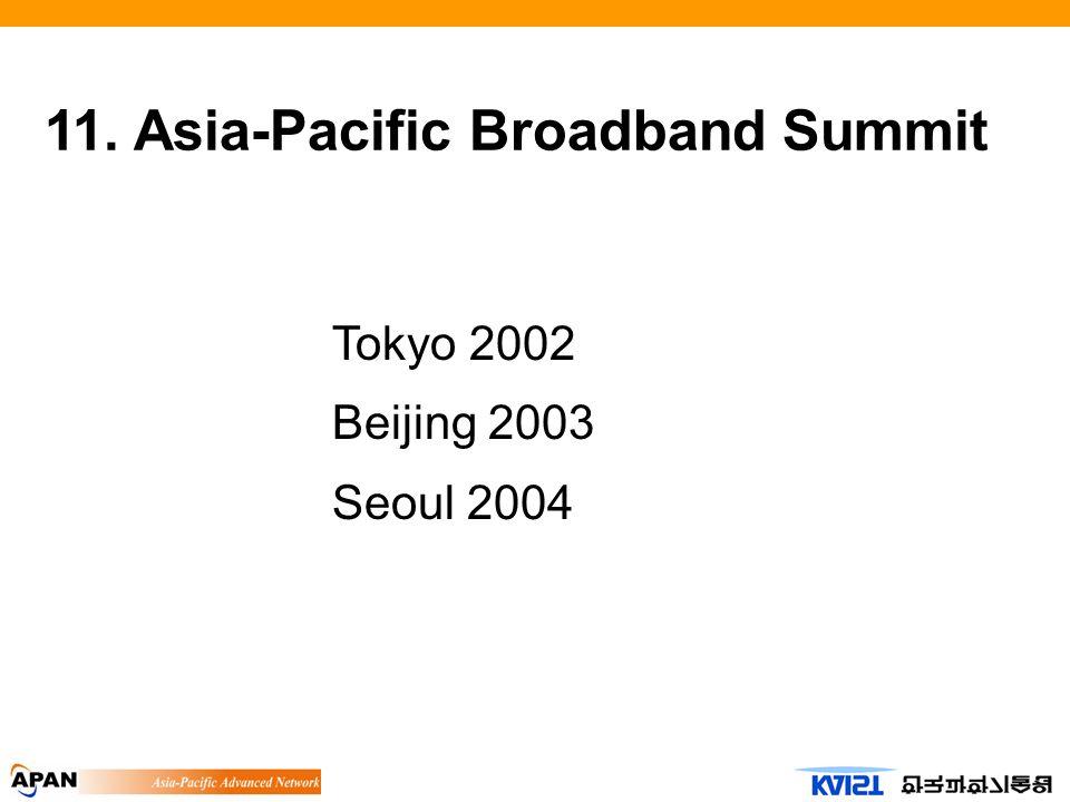 11. Asia-Pacific Broadband Summit Tokyo 2002 Beijing 2003 Seoul 2004
