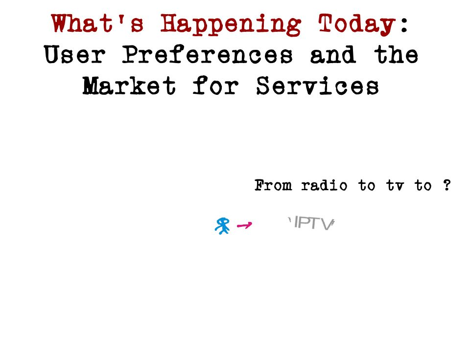 Whats Happening Today: User Preferences and the Market for Services From radio to tv to ?