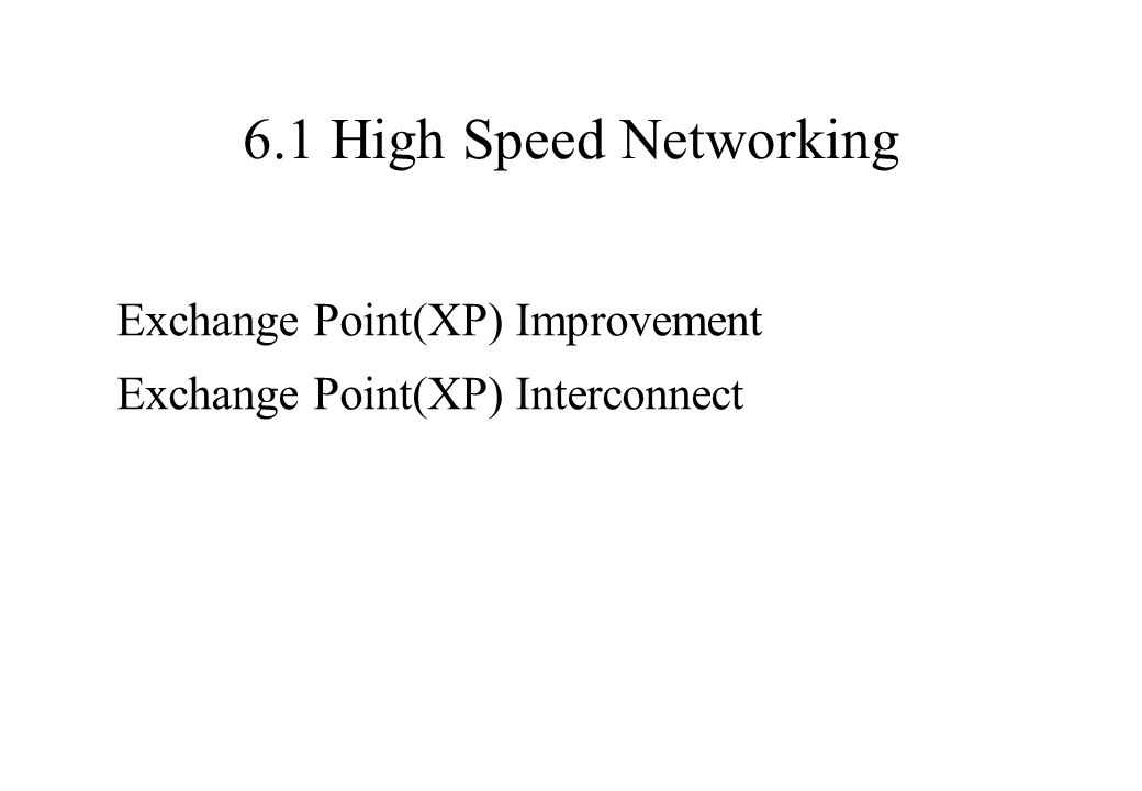 6.1 High Speed Networking Exchange Point(XP) Improvement Exchange Point(XP) Interconnect