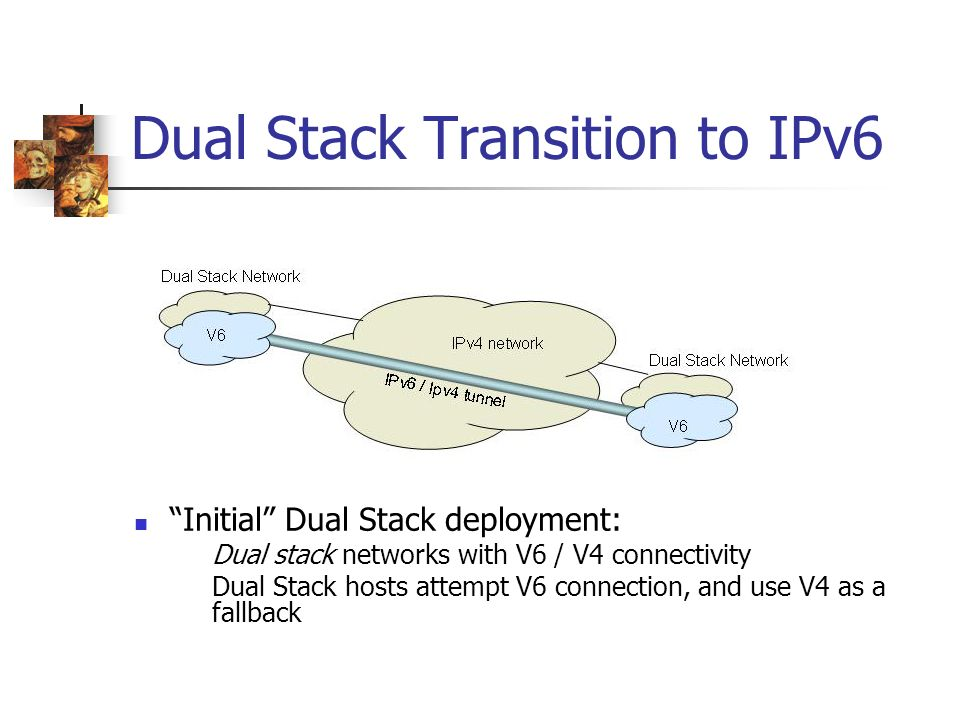 Dual Stack Transition to IPv6 Initial Dual Stack deployment: Dual stack networks with V6 / V4 connectivity Dual Stack hosts attempt V6 connection, and