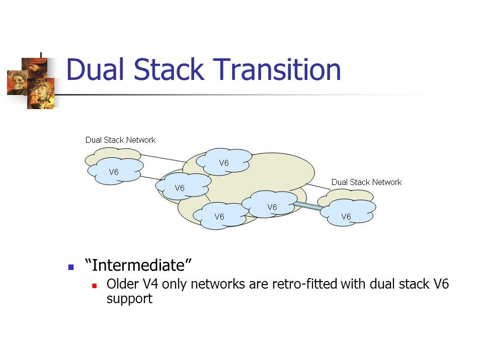 Dual Stack Transition Intermediate Older V4 only networks are retro-fitted with dual stack V6 support