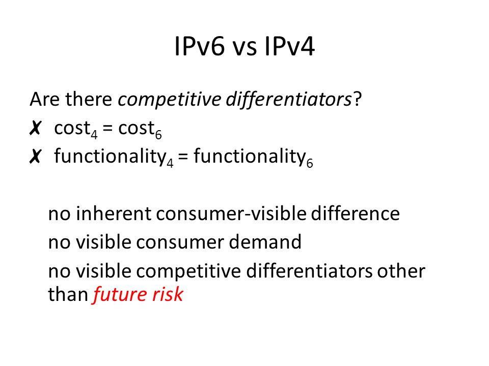 IPv6 vs IPv4 Are there competitive differentiators.