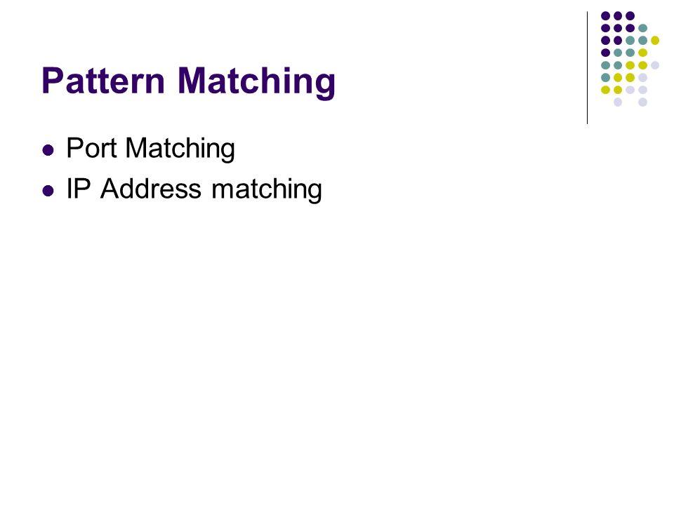 Pattern Matching Port Matching IP Address matching