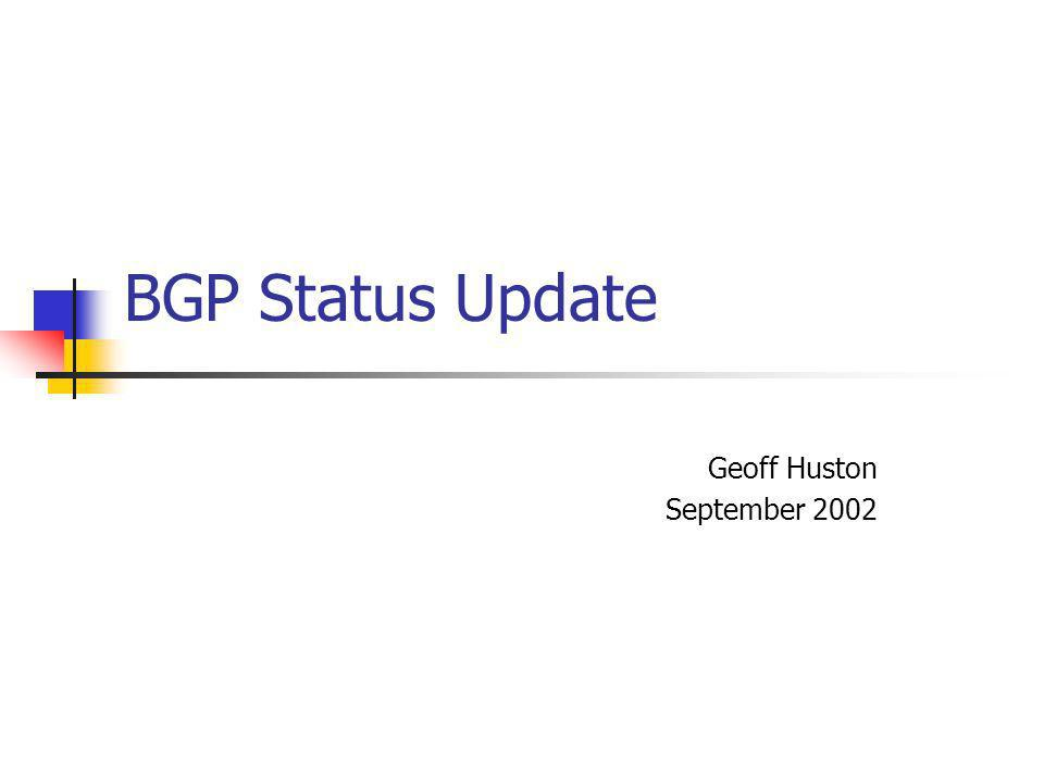 BGP Status Update Geoff Huston September 2002