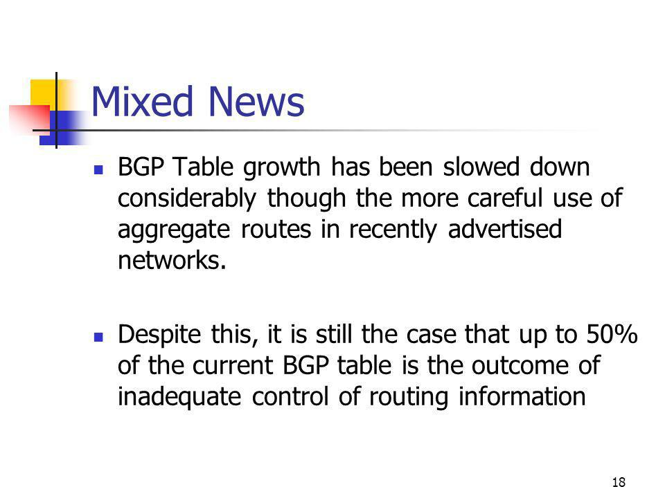 18 Mixed News BGP Table growth has been slowed down considerably though the more careful use of aggregate routes in recently advertised networks.